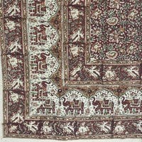 Handmade Cotton Kalamkari Floral Elephant Tapestry Coverlet 90x108 Earthy Red Full Queen