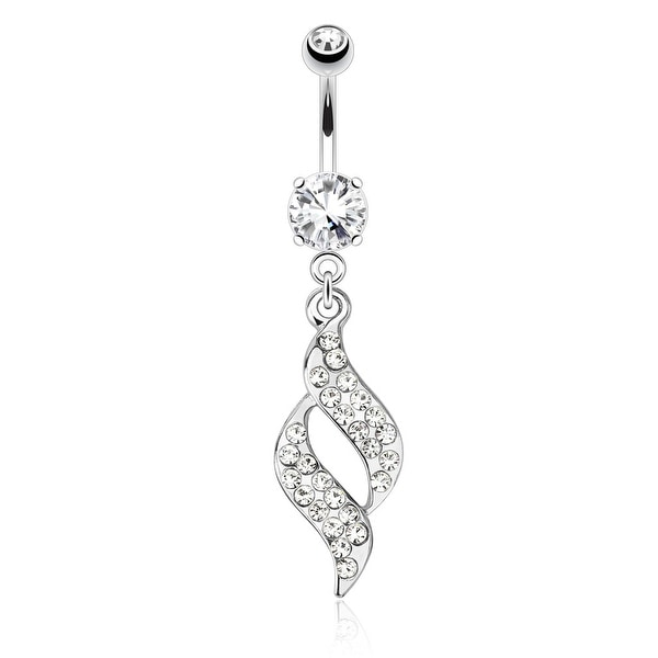 Swirl Design with Paved Gems Dangle 316L Surgical Steel Navel Belly Button Ring