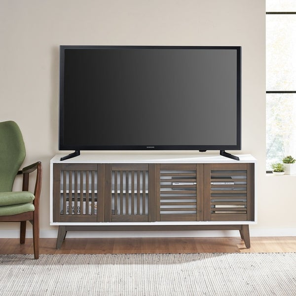 """Leverick Mid-Century Modern 4 Door TV Stand with Storage by Christopher Knight Home - 56.00"""" W x 16.00"""" D x 24.25"""" H. Opens flyout."""