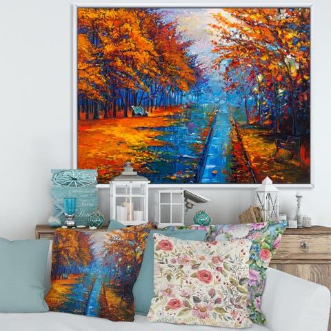 Designart 'Little Road Through Orange Autumn Landscape II' Traditional Framed Canvas Wall Art Print