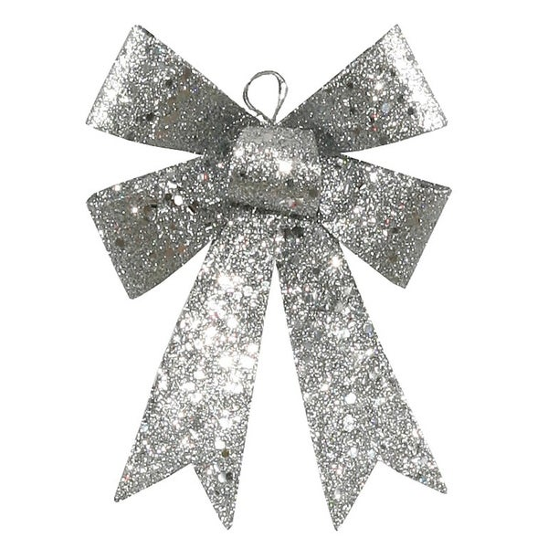 """5"""" Silver Sequin and Glitter Bow Christmas Ornament"""