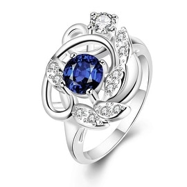 Petite Mock Sapphire Floral Design Ring