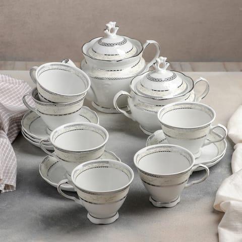 STP-Goods European 14-Pc Platinum Plated Porcelain Tea Set for 6