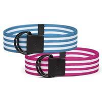 adidas Women's Stripe Webbing Belt 2-Pack: Magenta & Blue - Bahia Magenta/Solar Blue - ONE SIZE