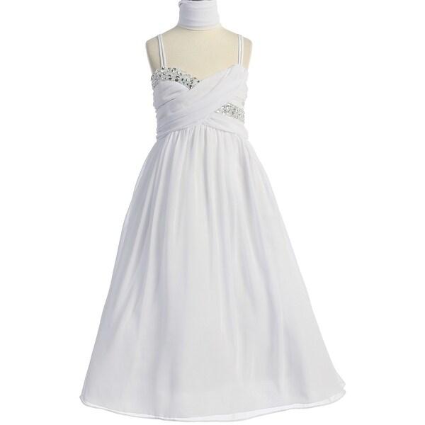 a3ea6da1590 Shop Flower Girl Dress All-Over Chiffon Criss-Cross Long Dress White JK  3556 - Free Shipping Today - Overstock - 17752330