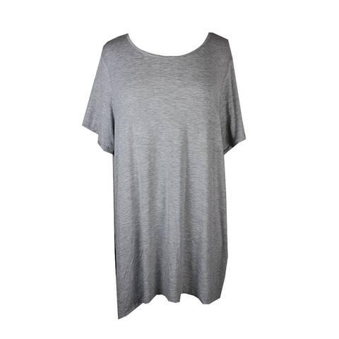 Whitespace Plus Size Grey Tie-Hem Short Sleeve T-Shirt 1X