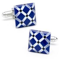 Mother of Pearl / Blue Enamel Diamond Pattern Silver Plated Cufflinks