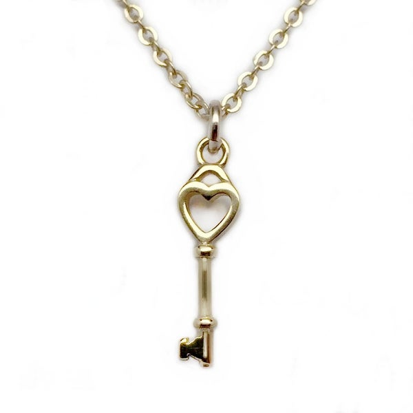 "Julieta Jewelry Key To My Heart Gold Charm 16"" Necklace"