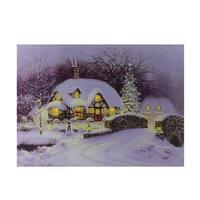 "Fiber Optic and LED Lighted Snowy Christmas House Canvas Wall Art 12"" x 15.75"""