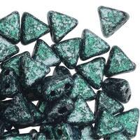 Czech Glass Kheops par Puca, 2-Hole Triangle Beads 6mm, 9 Grams, Tweedy Green