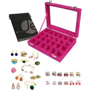 24-slot Velvet Glass Top Box Perfect Mens Cufflink or Women Jewelry Rings, Earrings Display Organizer Tray for Traveling - PINK