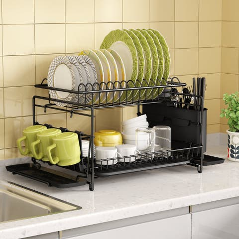 2 Tier Stainless-Steel Dish Drying Rack Multi-Function