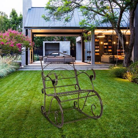 Paint Sun Shape Outdoor Garden Single Iron Art Rocking Chair