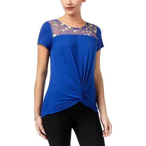 NY Collection Womens T-Shirt Embroidered Floral Print