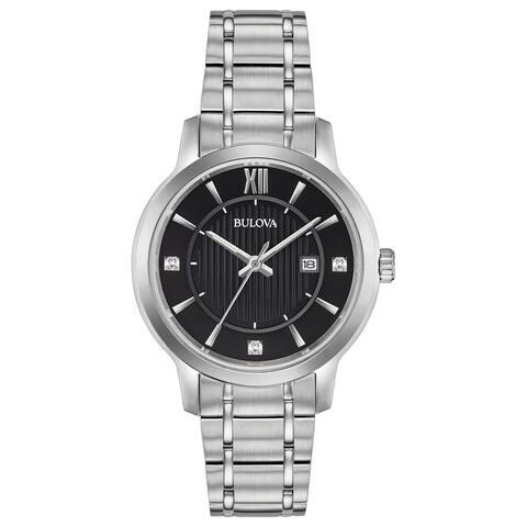 Bulova Women's 96P185 Classic Diamond Accent Bracelet Watch - Silver-Tone