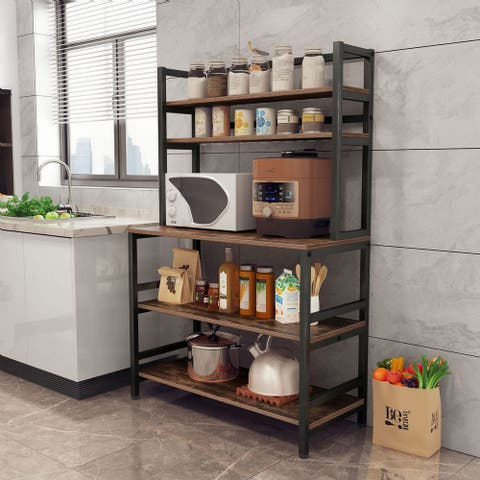 5-Tier Kitchen Bakers Rack with Hutch Organizer Rack