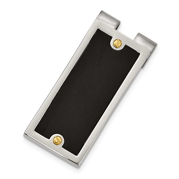 Chisel Stainless Steel IPG 24k Plating & IP Black Plated Money Clip