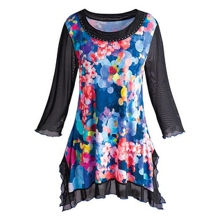 Women's Tunic Top - Abstract Roses Floral Sheer Long Sleeve Shirt