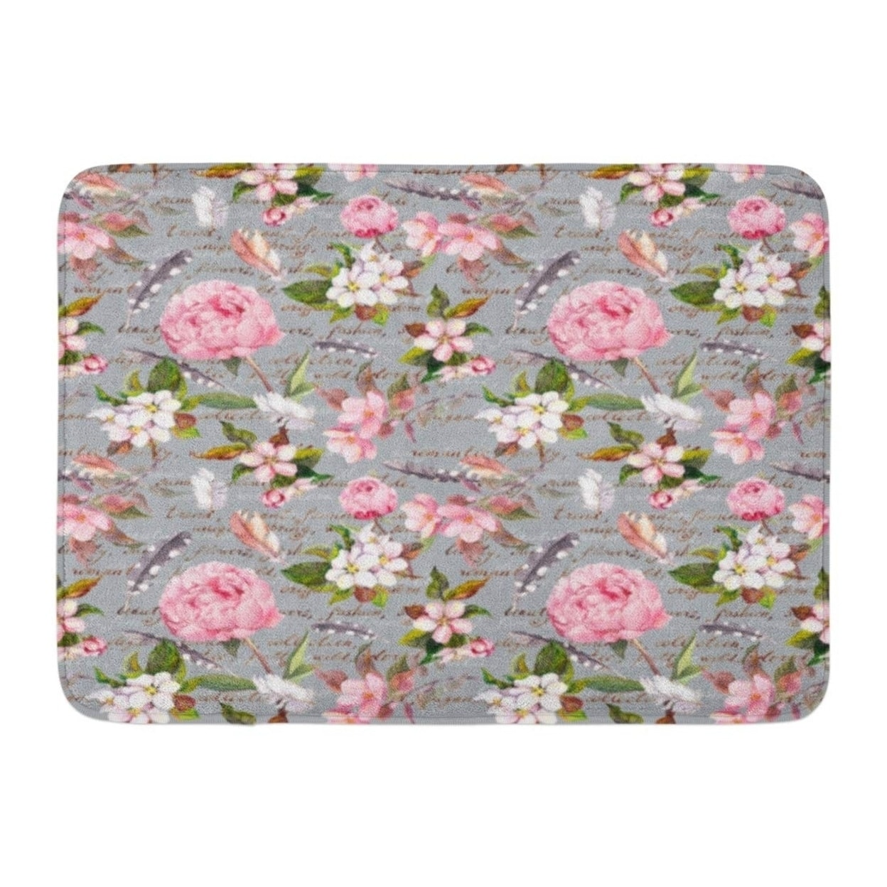 Pink Boho Peony Flowers Sakura Feathers Vintage Floral Pattern Letter Watercolor Botanic Doormat Floor Rug Bath Mat Multi On Sale Overstock 31777004