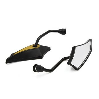 Pair Gold Tone Pentagon Shaped 10mm Thread Diameter Motorcycle Rear View Mirror
