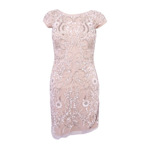 Aidan Mattox Women's Embellished Mesh Sheath Dress (0, Ivory/Nude) - Ivory/Nude - 0