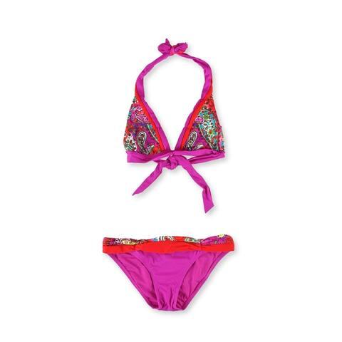 Becca Womens Paisley Layered 2 Piece Bikini, purple, Medium