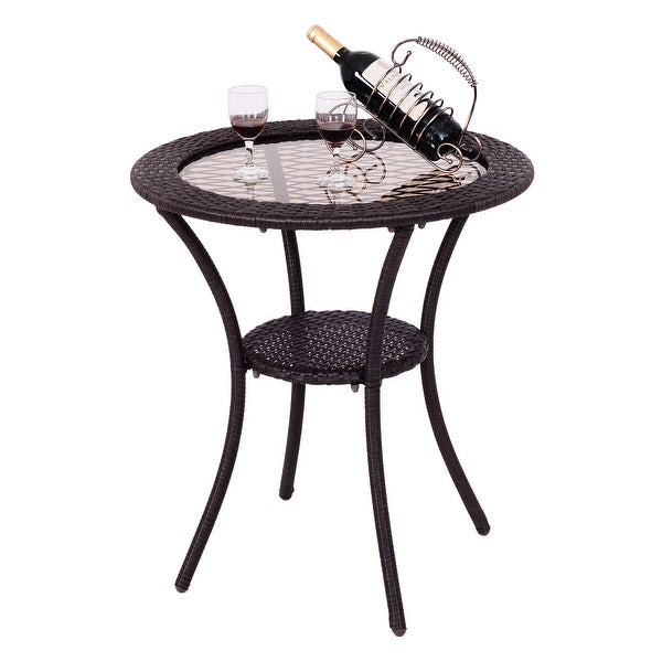 Patio Round Rattan Glass Top Table Outdoor Dining Metal Steel Frame Furniture