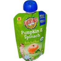 Earth's Best - Organic Pumpkin & Spinach Puree ( 12 - 3.5 OZ)