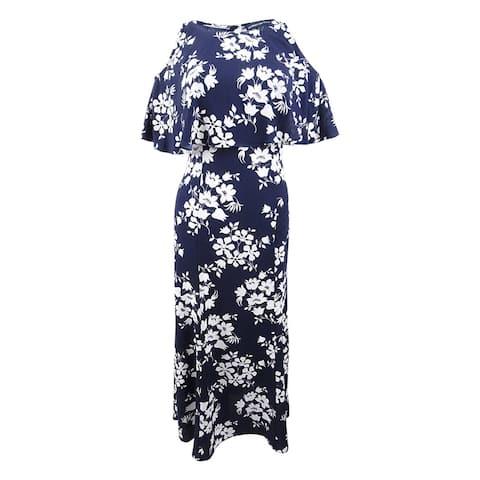 American Living Women's Floral-Print A-Line Dress - Navy/Cream