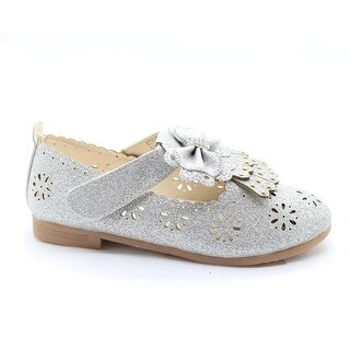 Little Girls Silver Glitter Floral Cut-Out Bow Adorned Dress Shoes