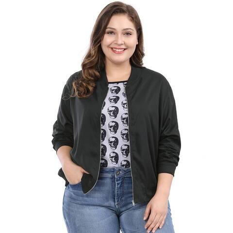 Unique Bargains Women's Plus Size Zipper Pocket Contrast Trim Lightweight Bomber Jacket