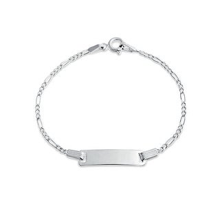Bling Jewelry 925 Sterling Silver Figaro Baby Childrens ID Tag Bracelet