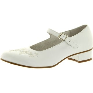 Simone Girls S10064 White Dress Shoes With Heel Made In Italy