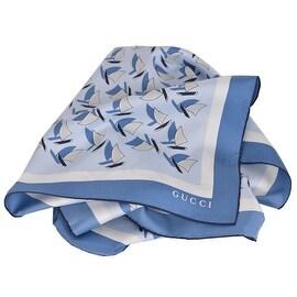 Gucci Women's 340124 Elinne Blue Sailboats Silk Twill Square Neck Scarf