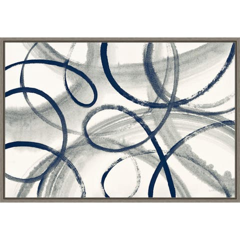 Calligraphia with Navy by Sue Schlabach Framed Canvas Art