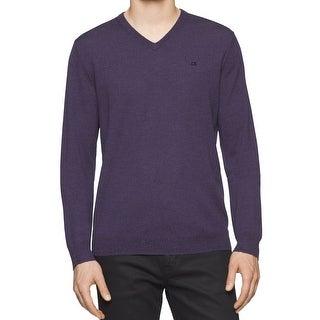 Calvin Klein NEW Mouline Purple Mens Size Medium M V-Neck Wool Sweater