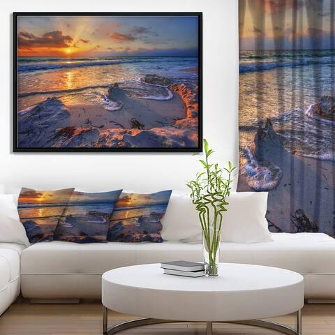 Designart 'Beautiful Seashore with Yellow Sun' Seashore Framed Canvas Art Print