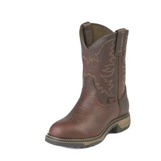 Tony Lama Work Boots Boys Kids Western Stitched Round Toe Brown TW903C