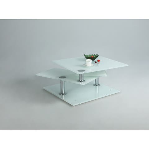 Somette Multi-Top Motion White Glass Cocktail Table