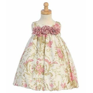 Rose Floral Cotton Bubble Easter Dress Baby Toddler Girl 12M-4T