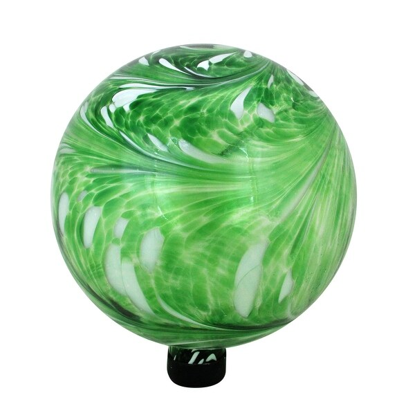 "10"" Green and White Swirl Designed Outdoor Patio Garden Gazing Ball - N/A"