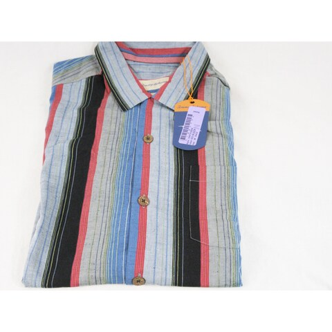 Tommy Bahama The Stripe is Right Black Size Medium Linen Camp Shirt