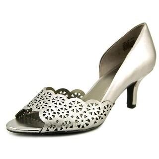 Bandolino Eireen Women Open-Toe Synthetic Silver Heels