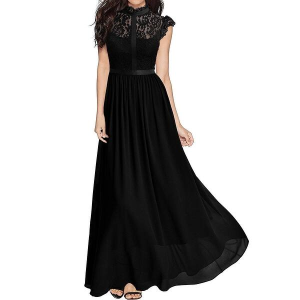 Miusol Black Womens Size Large L Gown Floral Lace Crewneck Dress