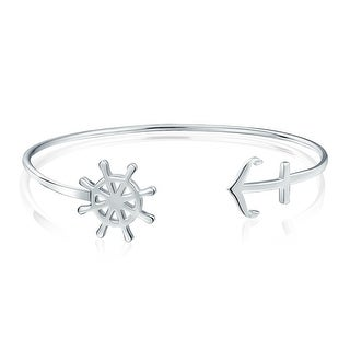 Bling Jewelry .925 Silver Nautical Ship Wheel And Anchor Cuff Bracelet