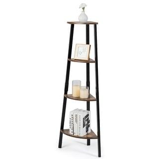 COSTWAY 4-Tier Corner Shelf Metal Storage Rack Bookcase Plant Display Stand Natural - Brown + black