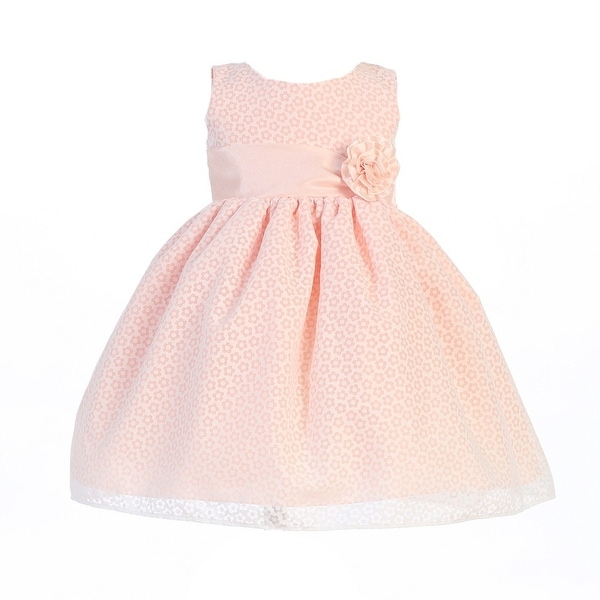 Baby Girls Peach Cotton Burnout Special Occasion Easter Dress 3-24M