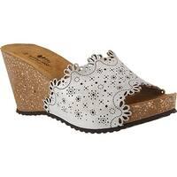 Spring Step Women's Doilie Slide Silver Leather