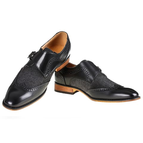 Gino Vitale Men's Monk Strap Herringbone Dress Shoes