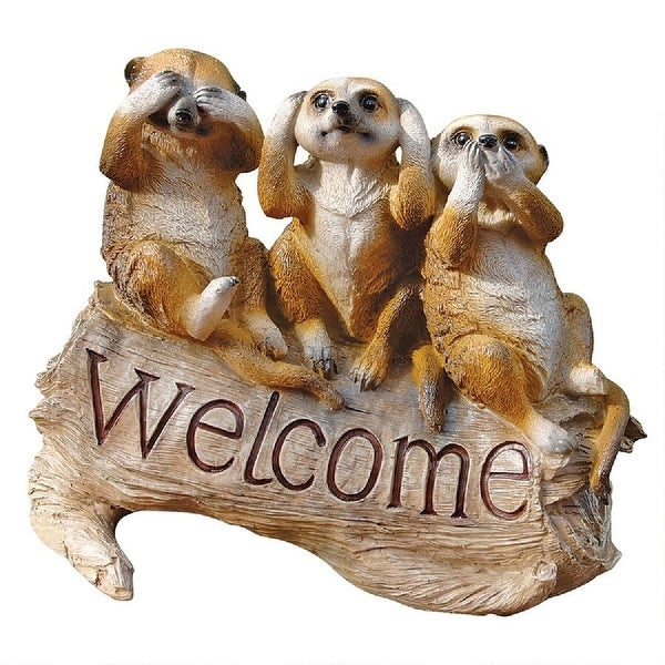 """13.5"""" Meerkat Trio Welcome Sign Hand-painted Statue - N/A"""
